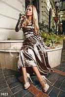 Длинное платье шоколад в белый горох (Коричневый)