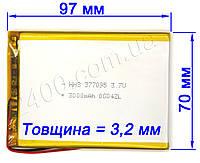 Мощный аккумулятор для планшета (3000мАч) Bravis NB74, NB75, NB105 3G 3.7v (3000mAh) размером 3.5х70х95 мм, фото 1