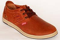 Кожанные демисезонные мужские  кроссовки Clarks рыжего цвета