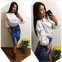 Женская модная джинсовая юбка до колен на молнии (Турция)