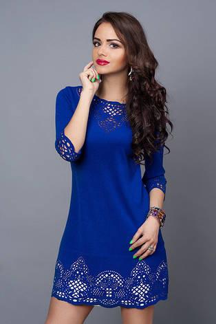 Синє ділове плаття трикотажне міні з перфорацією, фото 2