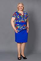 Платье женское с баской цветочный принт р.52-58 электрик V106