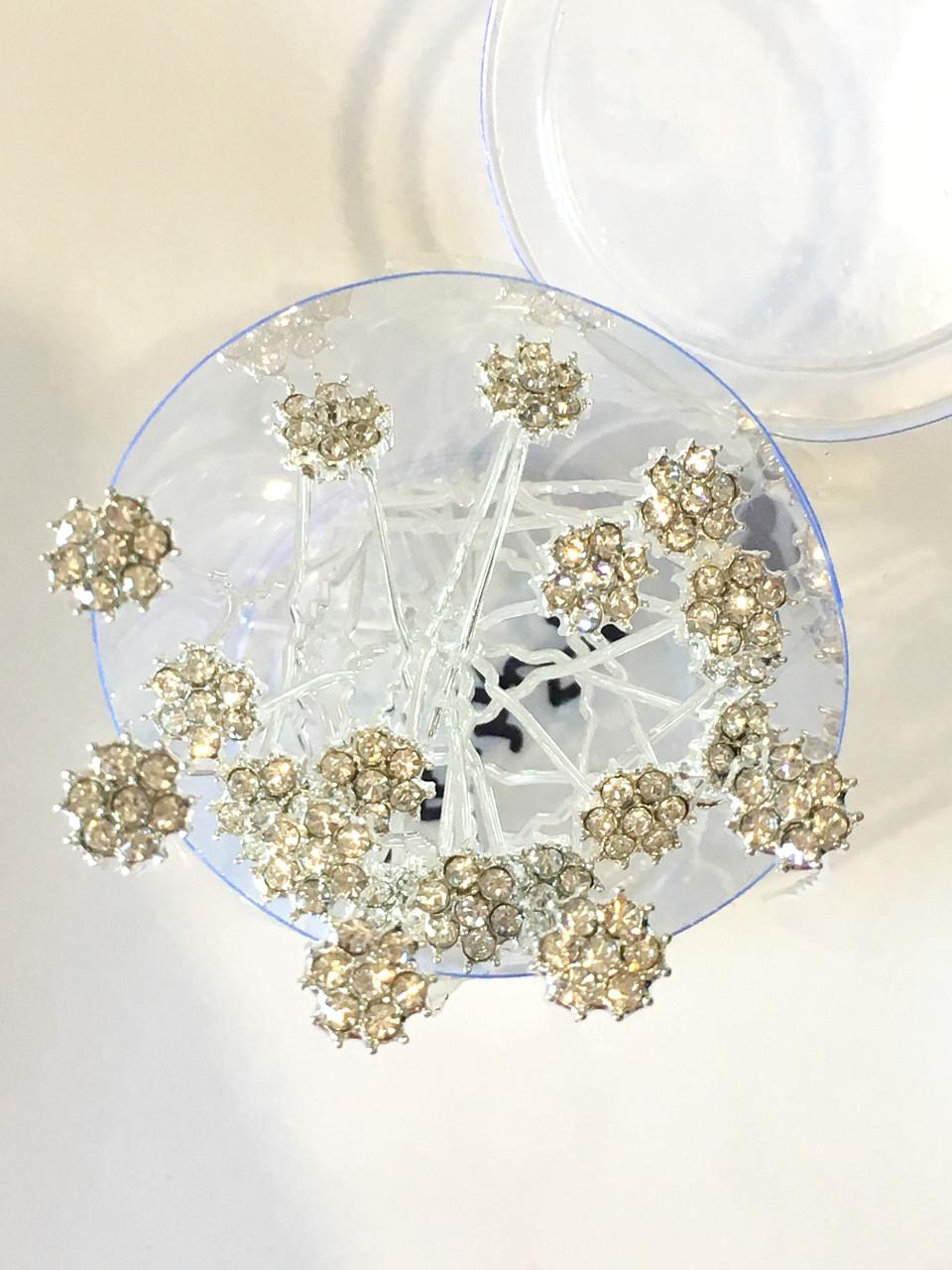 Шпилька цветочек белая 20 шт.