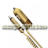 Remax ЗУ автомобильное Finchy RC-C103 3.4A 1*USB Gold + Combo кабель