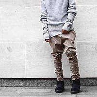 Мужские зауженные брюки с металлическими  молниями, беж