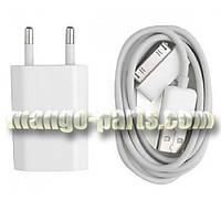 Кабель СЗУ 2in1  Apple iPhone 4/4S/iPad 2/3/4+блок+упаковка белый