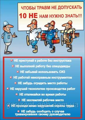 Плакат «Чтобы травм не допускать 10 НЕ нам нужно знать!»