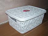Контейнер с крышкой для хранения мелочей  LACE TUPPEX (белый) 4 л, фото 2