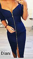 Платье на молнии стрейч - джинс