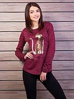 Свитшот из ангоры с модным рисунком, цвет - бордовый меланж