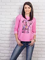 Молодежная  женская розовая кофточка с рисунком