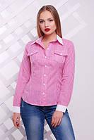 Нежная розовая блузка в клетку Техас Glem 44-50 размеры