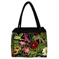 Большая женская сумка Сатчел с принтом Цветы