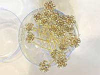 Шпилька цветочек 5 лепестков в золоте 20 шт.