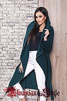 Демисезонное кашемировое пальто с капюшоном и поясом