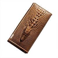 Женский кошелек с 3D Крокодилом (Золото)