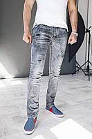Мужские джинсы серые с маленькими латками спереди