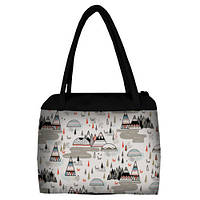 Большая женская сумка Сатчел с принтом Индейская деревня
