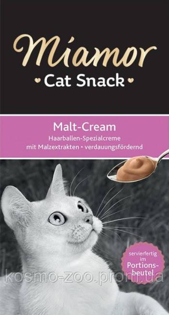 Miamor Malt-Cream (Миамор) жидкое лакомство для кошек, вывод шерсти со вкусом солода, 15 гр (в уп.6 стиков).
