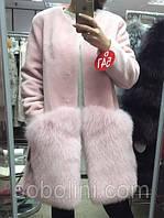 Пальто из натурального меха, норка KOPENHAGEN коротковорстная + песец