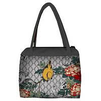 Женская сумка Сатчел с принтом Птица в цветах