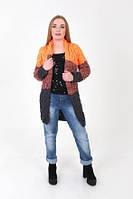 Вязаный женский кардиган Лало меланж трехцветный оранж + графит