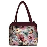 Женская сумка Сатчел с принтом Цветочная нежность марсала