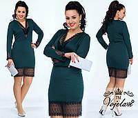 Платье женское зеленое с кружевом АК/-004