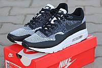 Мужские кроссовки Nike Air Max 1 Flyknit, серые с черным / кроссовки мужские Найк Аир Макс 1 Флайнит, стильные
