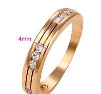 Обручальное кольцо с камнями позолота 18к.з. 16.5 размер