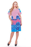Платье большого размера Катарина голубой принт, легкое летнее платье большого размера