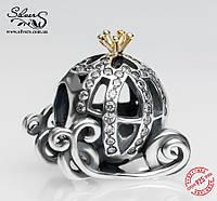 """Серебряная подвеска-шарм Пандора (Pandora) """"Disney. Карета Золушки"""" для браслета"""