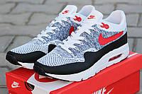 Мужские кроссовки Nike Air Max 1 Flyknit, серые с красны / беговые кроссовки мужские Найк Аир Макс 1 Флайнит