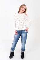 Вязаный свитерок Ромбики, молоко, фото 1