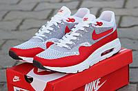 Мужские кроссовки Nike Air Max 1 Flyknit, красные с белым / бег кроссовки мужские Найк Аир Макс 1 Флайнит 2017