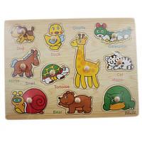 Деревянная доска Сегена для детей, рамки вкладыши, животные 1