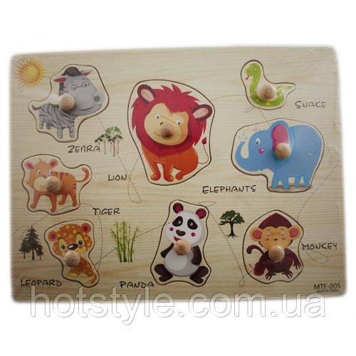 Деревянная доска Сегена для детей, рамки вкладыши, животные 2