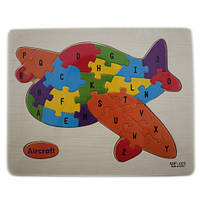 Деревянная доска-пазл для детей, рамки вкладыши, пазл, самолет