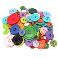 Набор из 50 пластиковых пуговиц разных цветов, 4 дырки, 15мм