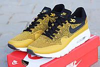 Мужские кроссовки Nike Air Max 1 Flyknit, желтые / беговые кроссовки мужские Найк Аир Макс 1 Флайнит 2017