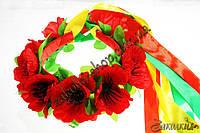 Украинская тематика; Венок букет цветы на обруче с ленточками, 1 штука