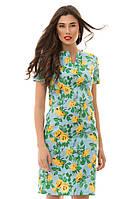 """Голубое стильное платье """"розы"""". Арт-1154/16"""