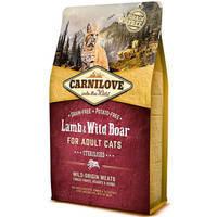 Сухой корм Carnilove Cat Lamb & Wild Boar Sterilised для кошек. Беззерновой 6 кг.