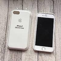 Силиконовый белый чехол с яблочком для iPhone 7