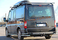 Защита заднего бампера уголки двойные из нержавейки на Ford Transit 2007-2012