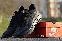 Мужские кроссовки Nike Air Max 1 Flyknit, черные / бег кроссовки мужские Найк Аир Макс 1 Флайнит, модные