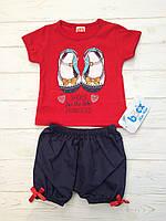 Костюм для девочек с шортами и футболкой