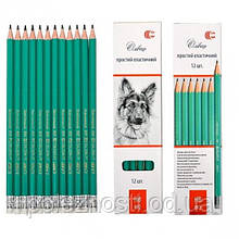 Олівець чорнографітний з гумкою, твердість НВ (поштучно, ціна за 1 олівець!)