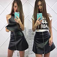 Женская модная кожаная короткая юбка трапеция