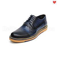 Мужские синие туфли Luciano Bellini на танкетке